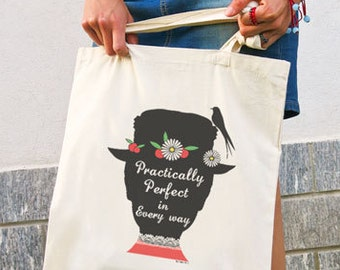 Practically perfect in every way quote tote bag-Mary Poppins tote-valentines gift-custom tote-quote tote-shopping bag-NATURA PICTA NPTB019