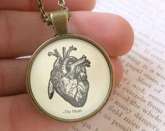 Heart necklace-anatomy necklace-heart pendant-anatomy pendant-doctor necklace-doctor gift-goth pendant-holiday gift-by NATURA PICTA-NPNK55
