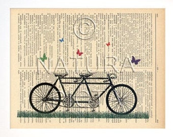 Tandem bicycle with butterflies print,Tandem bicycle print,Bicycle book art,retro bicycle dictionary print, wedding gift, by NATURA PICTA
