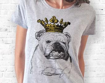 English bulldog crowned T-shirt-Bulldog women tshirt-bulldog men tees-bulldog tees-bulldog tshirt-funny dog tshirt-NATURA PICTA NPTS026