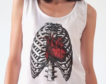 Anatomy T-shirt-thorax T-shirt-men's thorax t-shirt-retro heart women tank top-retro heart men shirt-heart t-shirt-NATURA PICTA-NPTS127