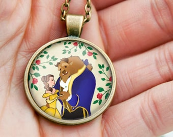 Beauty and the beast necklace-anniversary gift-wedding gift-gift for her-Valentines day gift-beauty and the beast-by NATURA PICTA-NPNK54
