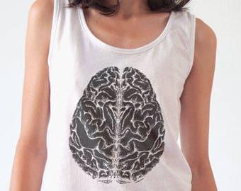 Brain T-shirt-Anatomical tees-tattoo T-shirt-retro women brain shirt-men's brain t-shirt-brain tank top-doctor gift-NATURA PICTA NPTS136