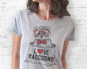 Raccoon T-shirt-raccoons Women's T-shirt-funny animal T-shirt-wildlife T-shirt-raccoon tank top-men tees-women tees-tee-NATURA PICTA-NPTS034