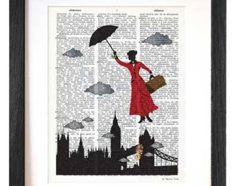 Mary Poppins print-Mary Poppins dictionary print-Poppins book art-fairy tale print-children wall art-Nursery print-gift-NATURA PICTA-DP191