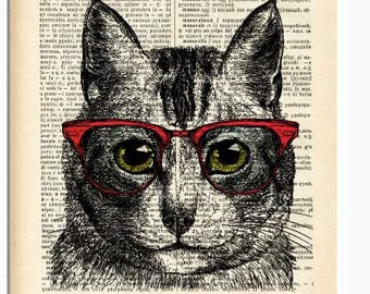 Cat print-funny cat print-nerdy cat print-Cat on book page-Funny animal print-cat dictionary print-cat poster-cat decor-NATURA PICTA-NPDP165
