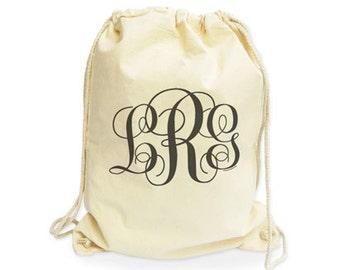 Monogrammed organic Drawstring Backpack-monogrammed gymsack-custom gym sack-wedding backpack-custom college backpack-by NATURA PICTA NGS011