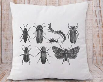Copricuscino insetti-cuscino botanico-federa cuscino giardino-cuscino boho-cuscino personalizzato-cuscini retro-cuscino decorativo-NPCP7