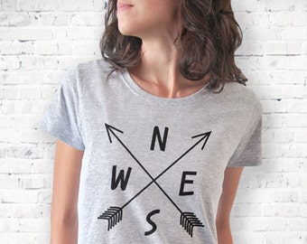 Compass arrows T-shirt-Compass arrows shirt-women tees-Compass arrows men shirts-arrows shirt-boho shirt-cool tees-NATURA PICTA-NPTS004