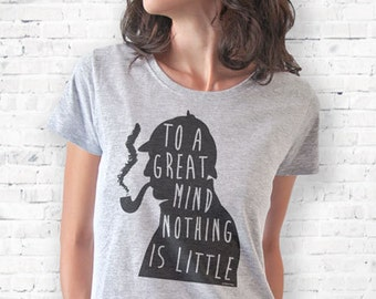Sherlock Holmes to a great mind quote T-shirt-typography t-shirt-Sherlock quote woman tank top-Sherlock men tees-by NATURA PICTA-NPTS048