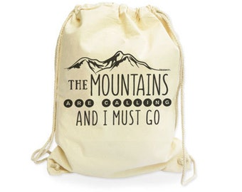 The mountains are calling and I must go organic Backpack-Mountains gymsack-climbing gym sack-hiking bag-gift for him-by NATURA PICTA NGS013