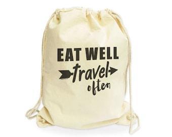 Eat well travel often organic gymsack-travel gym sack-traveler gym sack-cotton gymsack-boho gymsack-gift for traveler-NATURA PICTA NGS009