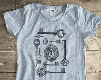 Vintage keys T-shirt-skeleton keys shirt-steampunk t-shirt-Men's Graphic Tee-keys tee-shirt-cool tees-college t-shirt-NATURA PICTA-NPTS085