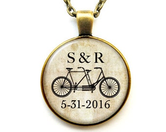 Bicycle necklace-custom bicycle tandem necklace-Wedding necklace-Anniversary necklace-love necklace-Valentine gift-by NATURA PICTA-NPNK040
