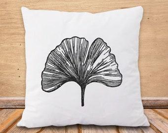 Copricuscino foglia ginkgo biloba-cuscino botanico-federa cuscino foglia-cuscino boho-cuscino personalizzato-cuscini-cuscino yoga-NPCP6