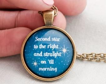 Second Star Peter Pan quote necklace-Peter Pan necklace-second star pendant-peter pan jewelry-peter pan-handmade-Design NATURA PICTA-NPNK013