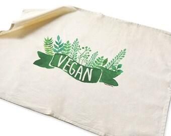Canovaccio cucina con scritta vegan-regalo vegetariani-asciugapiatti botanico-canovaccio in cotone-tovaglietta colazione-NATURA PICTA-TWNP1