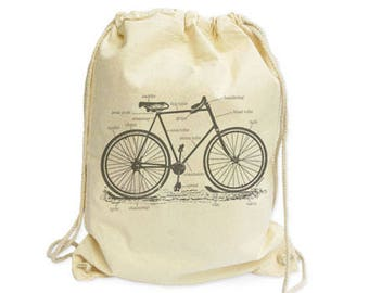 Bicycle drawstring backpack-bike bag-bicycle bag-cyclists gift-bicycle gymsack-drawstring backpack-gift for him-gift for her-by NATURA PICTA