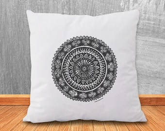 Mandala pillow-mandala pillow cover-yoga pillow-home decor-pillow-decorative pillow-custom pillow-boho pillow-hippie-NATURA PICTA-NPCP007