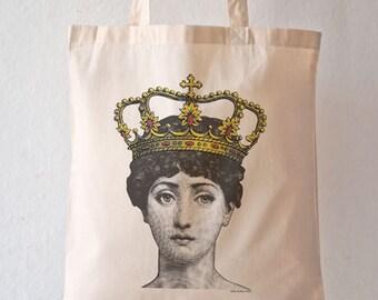 Lina Cavalieri queen tote bag-queen tote bag-Cavalieri crowned tote bag-Lina Cavalieri crowned bag-tote-design NATURA PICTA NPTB093
