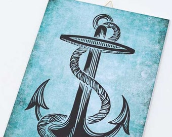 Vintage nautical anchor on Canvas board-Anchor canvas panel-Anchor wall art-Coastal wall art-beach wall art-beach decor-NATURA PICTA CB008