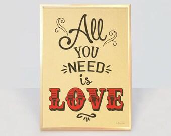 Stampa grafica all you need is love su carta metallizzata oro-arredo pareti-decorazione pareti-stampe oro-lettering-by NATURA PICTA-NPGP14