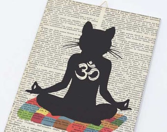 Funny yoga canvas board-Meditating cat yoga on canvas panel-Cat Om wall art-Humor art-Funny cat wall art-by NATURA PICTA CB007