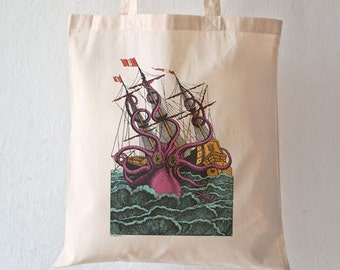 Giant octopus attacking the sailing ship tote bag-octopus tote bag-octopus tote-kraken tote-school bag-gift for him-by NATURA PICTA NPTB041