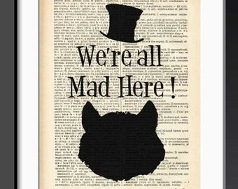 Cheshire cat we're all mad here dictionary print-Cheshire cat print-Alice print-Cheshire cat wall decor-dorm print-by NATURA PICTA-DP160
