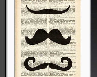 Mustache print-mustache dictionary print-mustache wall art-Upcycled Vintage Dictionary page-nursery print-mustache poster-NATURA PICTA-DP158