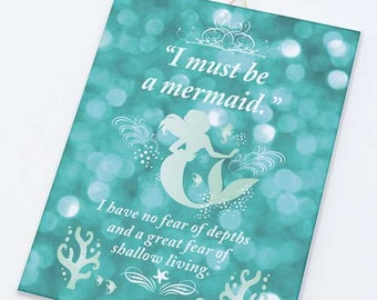I must be a mermaid quote on Canvas board-Mermaid quote on canvas panel-Mermaid wall art-Children wall art-Sirens art- by NATURA PICTA CB003