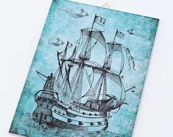 Vintage sailing vessel Canvas board-vessel canvas panel-Nautical wall art-Coastal wall art-beach wall art-beach decor-NATURA PICTA CB015