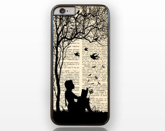 Little girl reading a book with dandelion iPhone 7-iPhone 7 Plus-iPhone 6/6s-iPhone 6 plus-iPhone 5/5S-Galaxy S5-S6-S7-by Natura Picta-NP050
