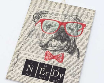 English bulldog Nerdy quote on Canvas board-Funny English bulldog on canvas panel-Dog wall art-Funny animal wall art- by NATURA PICTA CB004