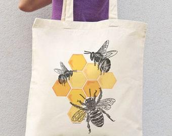 Bee tote bag-honey bee tote bag-save bees tote bag-insect tote bag-tote bag-grocery tote bag-shopping bag-bees tote bag-NATURA PICTA NPTB097