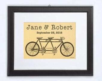 Tandem print-gold print-bicycle gold print-anniversary print-wedding print-bicicyle print-home decor-gold wall art-by NATURA PICTA-NPGP01
