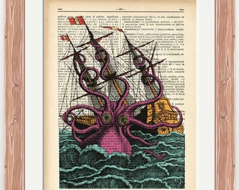 Giant octopus attacking the ship dictionary print-octopus print-Octopus wall art-kraken print-ocean wall art-beach decor- NATURA PICTA-DP153