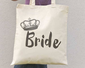 Bride tote bag-wedding tote bag-bride gift-bridal tote bag-custom tote bag-crown tote-bridesmaid tote-crown bag-gift for her-by NATURA PICTA