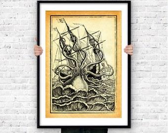 Giant octopus wall art print-kraken poster-octopus poster-coastal wall art-beach art-nautical decor-sea life poster-by NATURA PICTA-NPS004
