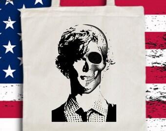Dr. Spencer Reid Tote Bag. Criminal Minds Bag Spencer Reid Portrait and Skull Bag Crminal Minds Bag Christmas Gift Idea Matthew Gubler Bag
