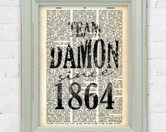 Team Damon Since 1864 Dictionary Print. The Vampire Diaries Wall Art Damon Salvatore Decor Team Damon Dictionary Art Vampire Diary Print