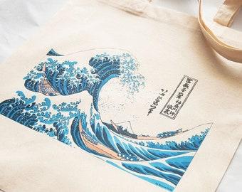Kanagawa great wave tote bag-Kanagawa tote-The great wave cotton tote bag-Hokusai tote bag-Japanese style tote bag-NATURA PICTA