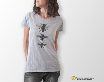 Vintage bees T-shirt-queen bee t-shirt-insect tank top-bee tees-bee shirt-Christmas gift-bee tee-holiday gift-cool tees-NATURA PICTA NPTS052