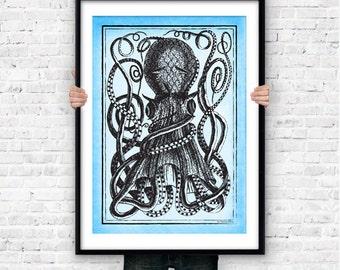 Giant octopus wall art print-kraken poster-octopus poster-coastal wall art-beach art-nautical decor-sea life poster-by NATURA PICTA-NPS005