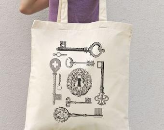 Keys tote bag-old keys bag-vintage tote bag-bridesmaids tote-tote-keys bag-victorian tote-wedding bag-NATURA PICTA NPTB034