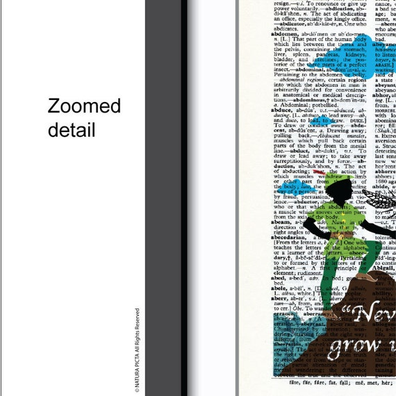 Peter Pan Never grow up dictionary print-Peter quote print-Peter book  art-Nursery print-peter pan wall art-dorm print-NATURA PICTA-DP144