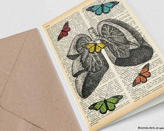 Lungs with butterflies card-funny card-anatomy card-custom Invitation-custom card-handmade card-birthday card-invitation by NATURA PICTA