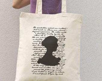 Jane Austen literary tote bag-book tote bag-british bag-literary tote-library tote bag-custom tote-school tote-by NATURA PICTA NPTB053