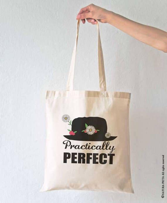 Mary Poppins practically perfect Personalised White Canvas Tote Bag