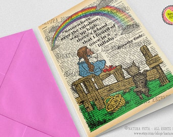 Dorothy somewhere over the rainbow Card-Oz card-thank you card-Invitation card-Note card-quote card-set of 3 cards-wizard of Oz-NPGC043